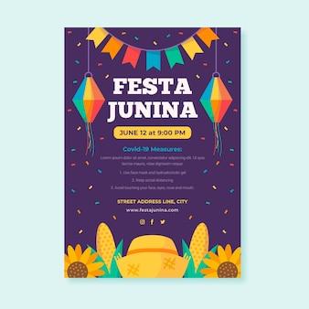 Vertikale plakatschablone der flachen festa junina