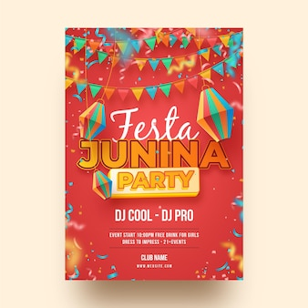 Vertikale plakatschablone der realistischen festa junina