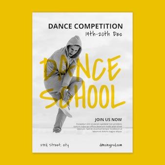 Vertikale plakatschablone der tanzschule mit männlichem tänzer