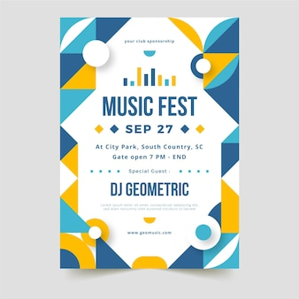 Vertikale plakatschablone des abstrakten geometrischen formenmusikfestivals