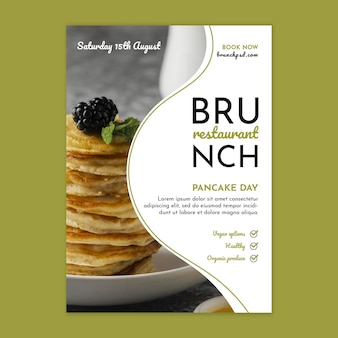 Vertikale plakatschablone des brunch-restaurants