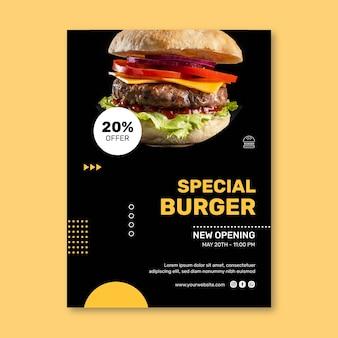 Vertikale plakatschablone des burgerrestaurants