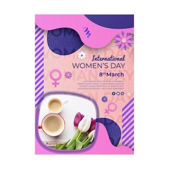 Vertikale plakatschablone des internationalen frauentags mit weiblichem symbol