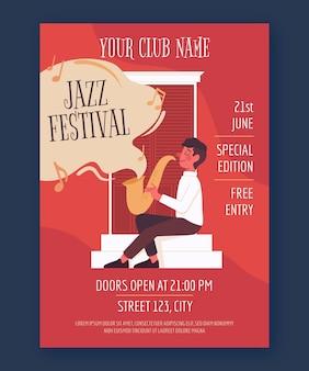 Vertikale plakatschablone des organischen flachen internationalen jazz-tages