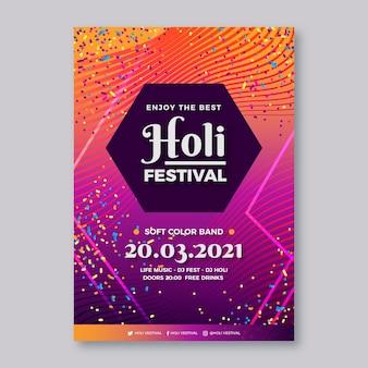 Vertikale plakatschablone des realistischen holi festivals