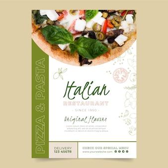 Vertikale plakatschablone für italienisches nahrungsmittelrestaurant