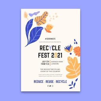 Vertikale plakatschablone für recycling-tagesfest