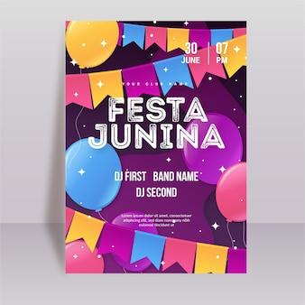 Vertikale plakatschablone gradient festa junina