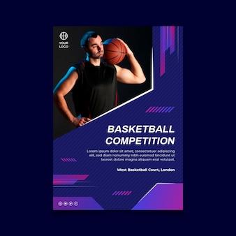 Vertikale plakatschablone mit männlichem basketballspieler