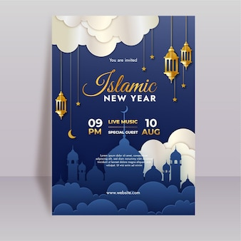 Vertikale plakatvorlage des islamischen neuen jahres mit farbverlauf