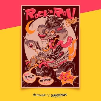 vertikale plakatvorlage des musikfestivals mit kreatur