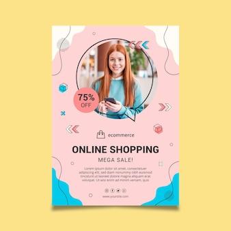 Vertikale plakatvorlage des online-einkaufs