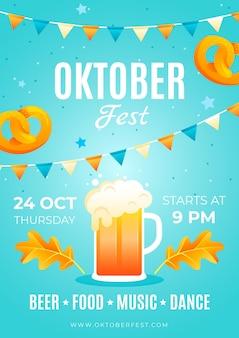 Vertikale plakatvorlage für das oktoberfest mit farbverlauf