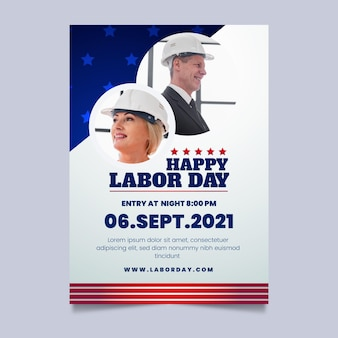 Vertikale plakatvorlage für den arbeitstag mit farbverlauf mit foto