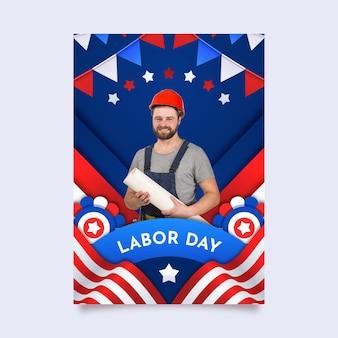 Vertikale plakatvorlage für den tag der arbeit mit farbverlauf mit foto