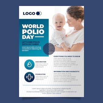Vertikale plakatvorlage für den welt-polio-tag mit farbverlauf