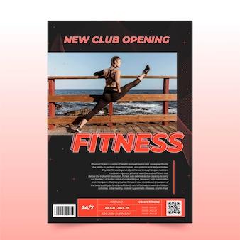 Vertikale plakatvorlage für gesundheit und fitness mit foto