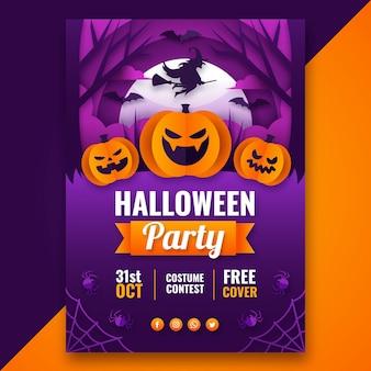 Vertikale plakatvorlage für halloween-party im papierstil