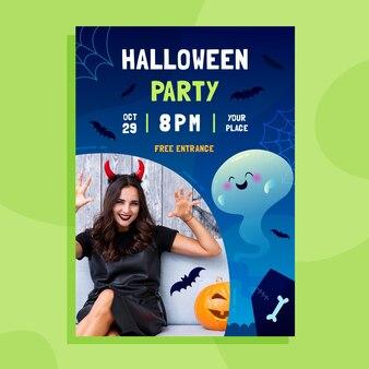 Vertikale plakatvorlage für halloween-party mit farbverlauf mit foto