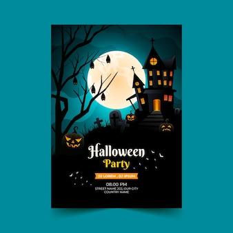 Vertikale plakatvorlage für halloween-party mit farbverlauf