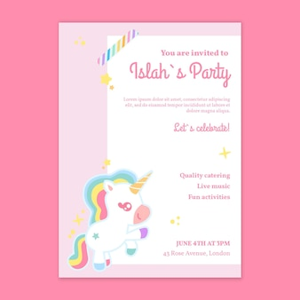 Vertikale plakatvorlage zum einhorn-kindergeburtstag