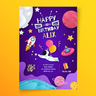 Vertikale plakatvorlage zum kindergeburtstag
