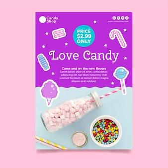 Vertikale postervorlage für süßwarenladen