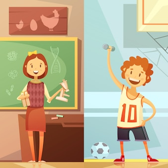 Vertikale retro- karikaturfahnen der sekundarschule mit biologielektion und sportgymnastiktraining