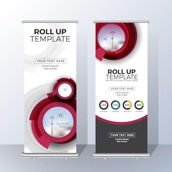 Vertikale roll up banner template design für ankündigen und werbung