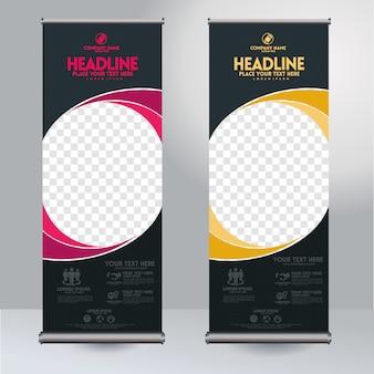 Vertikale schablone des rollup xbanner designs mit abstrakten gerundeten formen und transparentem copyspace für foto, moderne anzeige