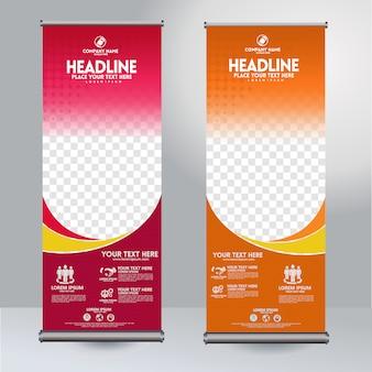 Vertikale schablone des rollup xbanner designs mit flusslinien und transparentem copyspace für foto, moderne anzeige