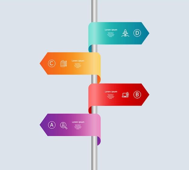 Vertikale timeline-infografiken 4 schritte