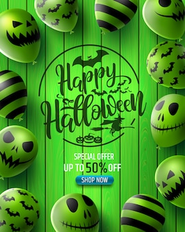 Vertikale verkaufsfahne halloweens mit furchtsamen ballonen