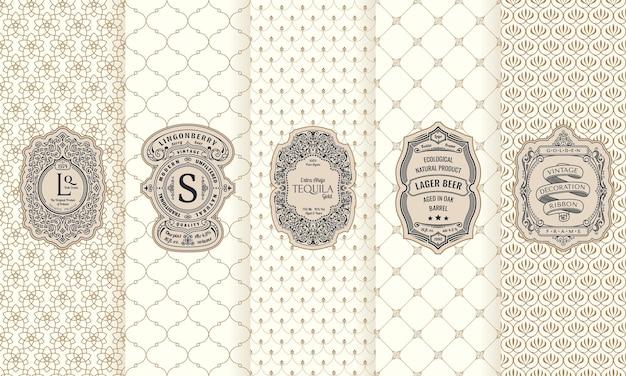 Vertikale verpackungsrahmen und luxus-ornament-etiketten für vintage-karten
