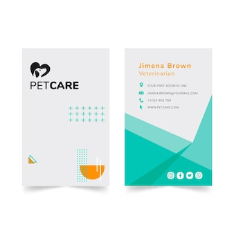 Vertikale visitenkarte der tierklinik und der gesunden haustiere