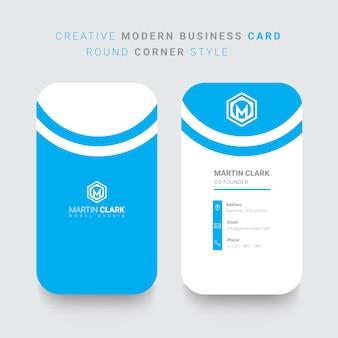 Vertikale visitenkarte des hinteren und vorderen mit blauen details