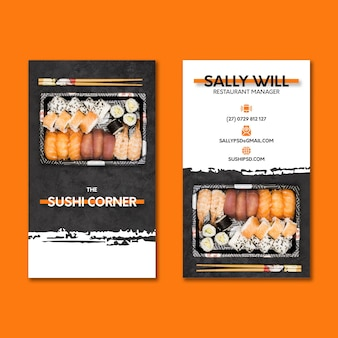 Vertikale visitenkarte des japanischen restaurants