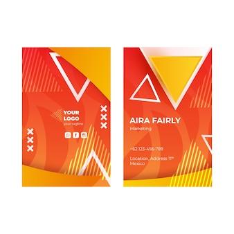 Vertikale visitenkarte des marketinggeschäfts