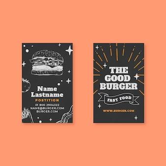 Vertikale visitenkarte für amerikanisches essen