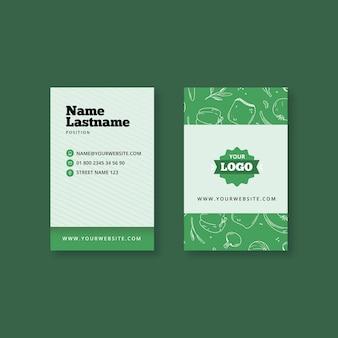 Vertikale visitenkarte für bio und gesunde lebensmittel