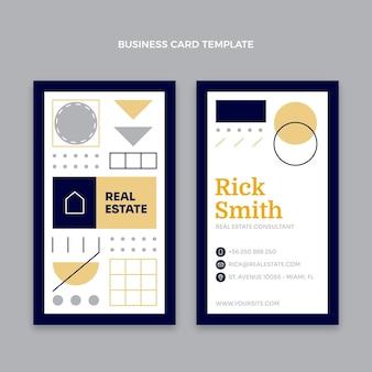 Vertikale visitenkarte für immobilien im flachen design