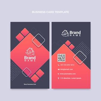 Vertikale visitenkarte für immobilien mit farbverlauf