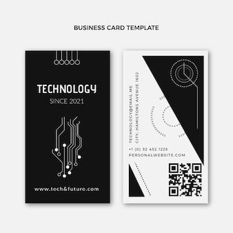 Vertikale visitenkarte im flachen stil mit technologie