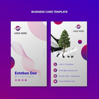 Vertikale visitenkarte mit farbverlaufstechnologie