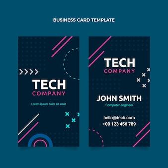 Vertikale visitenkarte mit flachem design und minimaler technologie