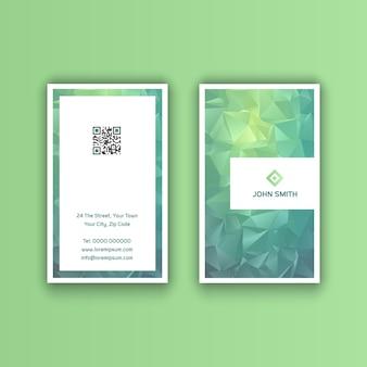 Vertikale visitenkarte mit niedrigem poly-design