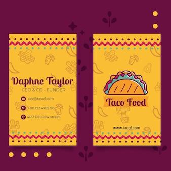 Vertikale visitenkartenschablone des taco-lebensmittelrestaurants