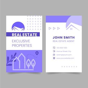 Vertikale visitenkartenvorlage für immobilien