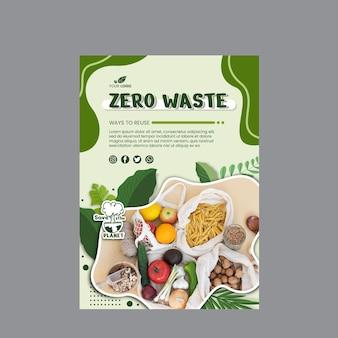 Vertikale vorlage für zero waste flyer