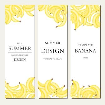 Vertikale vorlage mit früchten. sommer-cartoon-kollektion im vektor.